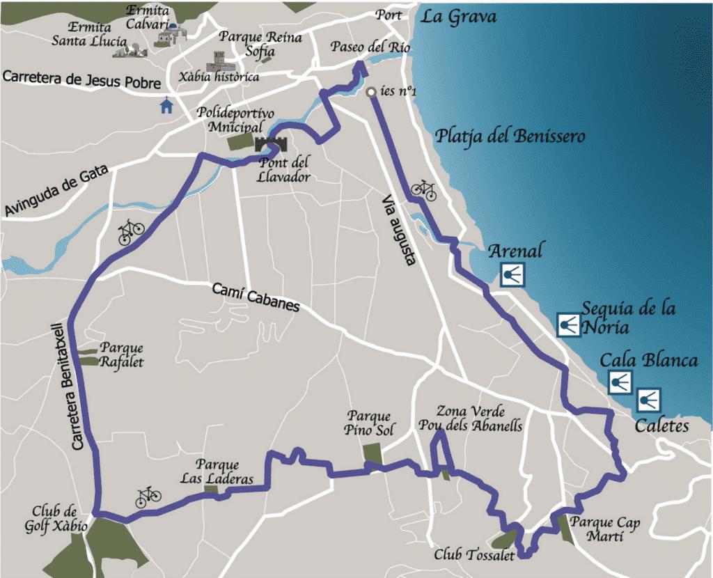 Ruta en bici Javea parques de Xabia